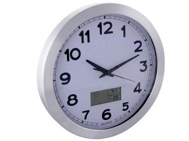 ALUMINIUM WANDKLOK MET LCD-DISPLAY - THERMOMETER, HYGROMETER EN WEERSVOORSPELLING - ALUMINIUM - Ø 35 cm (WC35)