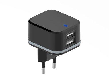 COMPACTE LADER MET 2 USB-AANSLUITINGEN - 5 V - 3.4 A max. ( 2.4 + 1 A ) - 17 W max. (PSS6EUSB35B)