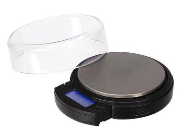 DIGITALE MINI PRECISIEWEEGSCHAAL - ROND - 500 g / 0.1 g - MET UITSCHUIFBAAR LCD-DISPLAY (VTBAL403)