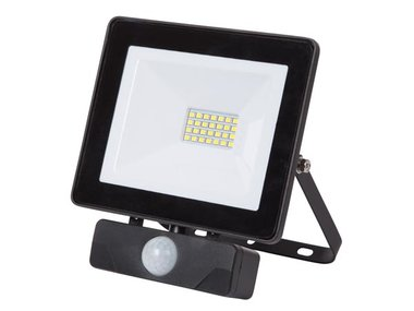 LED-SCHIJNWERPER VOOR BUITENSHUIS - 20 W, NEUTRAALWIT - ZWART - PIR (LEDA6002NW-BP)
