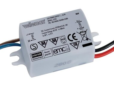 LEDVOEDING VOOR 1 TOT 3 LEDS VAN 1W - 350mA STROOMBRON (LET31)