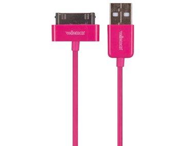 KABEL USB A MANNELIJK naar APPLE® 30-PINS MANNELIJK - MAGENTA - 1 m (PCMP66M)