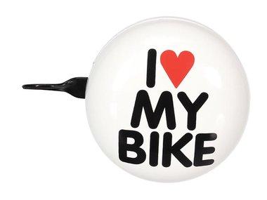 FIETSBEL - 'I LOVE MY BIKE' - Ø 8 cm - WIT (BR3)