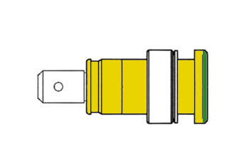 GEISOLEERDE INBOUWBUS 4mm, AANRAAKVEILIG / GEEL+GROEN (SEB 2620-F6,3) (HM2481S)