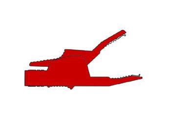 GEISOLEERDE KROKODILLENKLEM 4mm 34A, CONTACTBEVEILIGING / ROOD (AK2B 2540) (HM3411S)