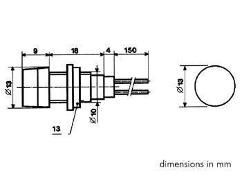 RONDE SIGNAALLAMP 13mm 12V ORANJE (KRJF012A)