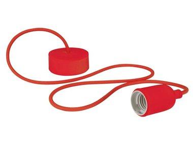 DESIGN LAMPHOUDER MET TEXTIELKABEL - ROOD (LAMPH01R)
