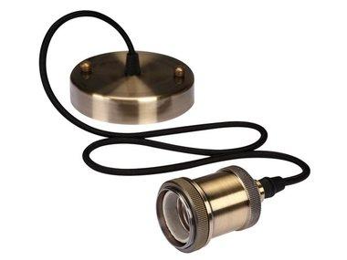 RETRO LAMPHOUDER MET TEXTIELKABEL - BRONSKLEURIG (LAMPH02)