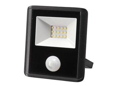 LED-SCHIJNWERPER VOOR BUITENSHUIS - 10 W, NEUTRAALWIT - ZWART - PIR-SENSOR (LEDA7001NW-BP)