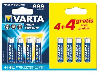HIGH ENERGY ALKALINE AAA / LR03, 1.5V PROMOPACK 4 + 4 st. 4903.121.448 (blister) (LR03/44)