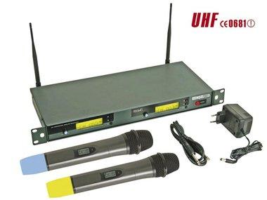 DRAADLOOS 8-KANAALS UHF DUBBEL MICROFOONSYSTEEM MET LCD-SCHERM (MICW41)