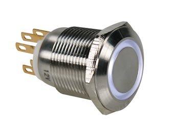 DRUKKNOP IN ROESTVRIJ STAAL SPDT 1NO 1NC - WITTE RING - 19mm (R1900W)