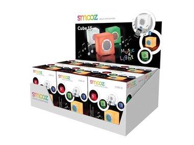 DISPLAY MET 6 x SMOOZ CUBE 15 - OPLAADBARE RGB-LAMP MET BLUETOOTH-SPEAKER (SMZCUB15DISP)