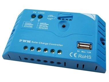 PWM-LAADREGELAAR MET USB-AANSLUITING - 10 A - 12/24 VDC (SOL10UC3)