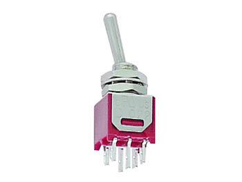 VERTICALE SUBMINIATUUR TUIMELSCHAKELAAR DPDT ON-ON - PCB TYPE / GEEN SCHROEFDRAAD (TS-5E)