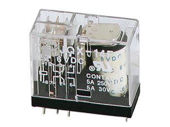 VERTICAAL RELAIS 5A/30VDC-220VAC 2 x WISSEL 6Vdc (VR5V062CN)