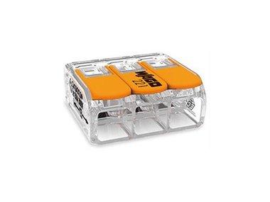 COMPACT-VERBINDINGSKLEM - VOOR ALLE SOORTEN GELEIDERS - MAX. 6 mm² - 3-DRAADS - MET  HENDELS - BEHUIZINGSKLEUR TRANSPARANT (WG221613)