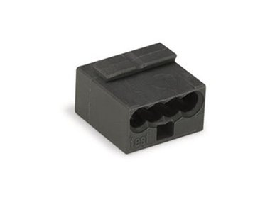 MICRO PUSH-WIRE CONNECTOR FOR JUNCTION BOXES 4-CONDUCTOR TERMINAL BLOCK, DARK GREY (WG243204)