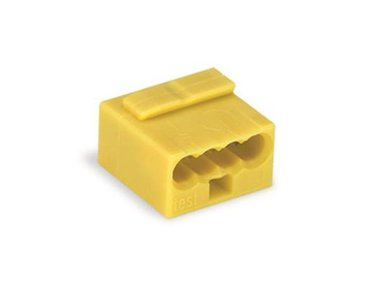 MICRO PUSH-WIRE CONNECTOR FOR JUNCTION BOXES 4-CONDUCTOR TERMINAL BLOCK, YELLOW (WG243504)