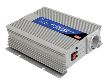 MEAN WELL - DC-AC INVERTER MET GEMODIFICEERDE SINUSGOLF - 600 W - DUITS STOPCONTACT (A301-600-F3)