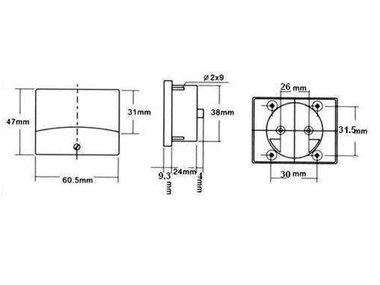 ANALOGE PANEELMETER VOOR DC STROOMMETINGEN 5A DC / 60 x 47mm (AIM605000)