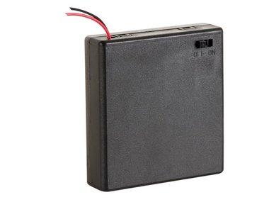 BATTERIJHOUDER VOOR 4 x AA-CEL (MET DRADEN) (BH341BS)