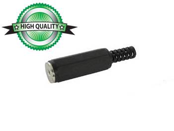 VROUWELIJKE 2.5mm MONO JACK - PLASTIC ZWART (CA007)
