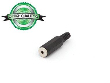 VROUWELIJKE 2.5mm MONO JACK - PLASTIC ZWART (CA007H)