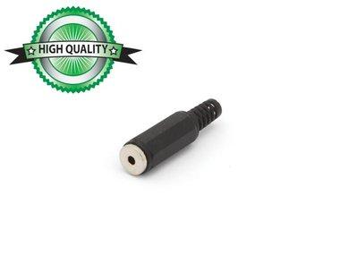 VROUWELIJKE 2.5mm STEREO JACK - PLASTIC ZWART (CA008H)