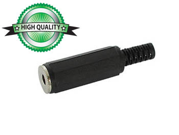 VROUWELIJKE 3.5mm MONO JACK - ZWART PLASTIC (CA009)