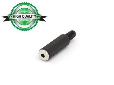 VROUWELIJKE 3.5mm MONO JACK - ZWART PLASTIC (CA009H)