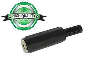 VROUWELIJKE 3.5mm STEREO JACK - ZWART PLASTIC (CA010)