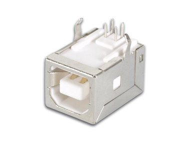 USB B VROUWELIJK, ENKELVOUDIGE CONNECTOR 90°, VOOR PCB (CC089)