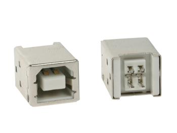 USB B VROUWELIJK, ENKELVOUDIGE CONNECTOR 180°, VOOR PCB (CC089B)
