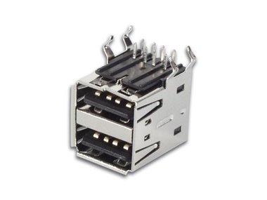 USB A VROUWELIJK, DUBBELE CONNECTOR 90°, VOOR PCB (CC090)