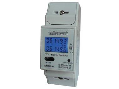 EENFASIGE kWh-METER VOOR DIN-RAIL MONTAGE - 2 MODULES (EMDIN02)