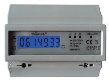 DRIEFASIGE kWh-METER VOOR DIN-RAIL MONTAGE - 7 MODULES (EMDIN03)