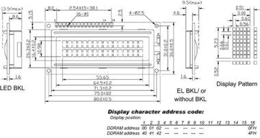 LCD 16 x 2 GEEN ACHTERGRONDVERLICHTING TN - GROTE KARAKTERS - LOW-COST (LCD1602LLC)