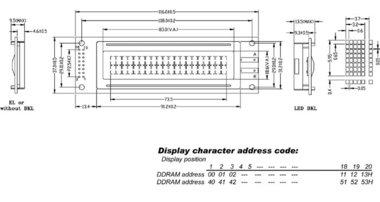 LCD 20 x 2 BOTTOM VIEW TRANSFLECTIEF MET GELE ACHTERGRONDVERLICHTING (LCD2002BLC)