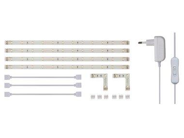 SET MET FLEXIBELE LEDSTRIPS EN VOEDING - WIT - 4 x 30 cm - 12 VDC (LEDS07W)