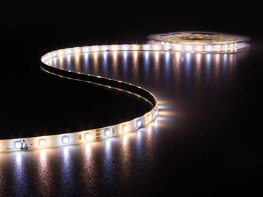 KIT MET LED-STRIP, CONTROLLER EN VOEDING - 300 LEDs - 5 m - 12 VDC - WARMWIT & KOUDWIT (LEDS12CWW)