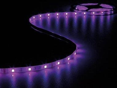KIT MET FLEXIBELE LED-STRIP, CONTROLLER EN VOEDING - RGB - 150 LEDs - 5 m - 12 Vdc - ZONDER COATING (LEDS18RGB)