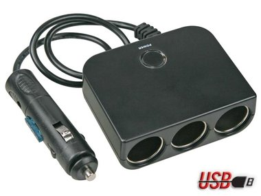 3-WEG SIGARETTENAANSTEKERPLUG - 12 V - MET USB-UITGANG (PLUGC13)