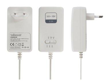 SCHAKELENDE VOEDING - 100-240 V - 3 tot 12 VDC - 2.5 A + 6 pluggen (PSSEMV26)