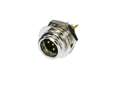 REAN TINY - 4-POLIGE MINI XLR-CONNECTOR, VERNIKKELD, VERGULDE CONTACTEN (RT4MP)