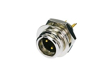 REAN TINY - 3-POLIGE MINI XLR-CONNECTOR, VERNIKKELD, VERGULDE CONTACTEN (RT3MP)