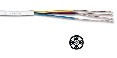 TELEFOONKABEL 4 x 0.20mm WIT ROND (TFC4020)