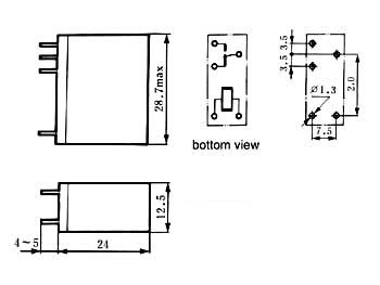 VERTICAAL RELAIS 10A/30VDC-220VAC 1 x WISSEL 24Vdc (VR10V241C)