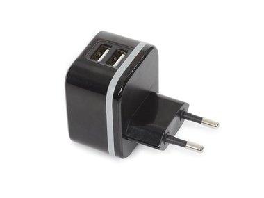 COMPACTE LADER MET 2 USB-AANSLUITINGEN 5 V - 3.4 A max. ( 2.4 + 1 A ) - 17 W max. (PSSEUSB35B)