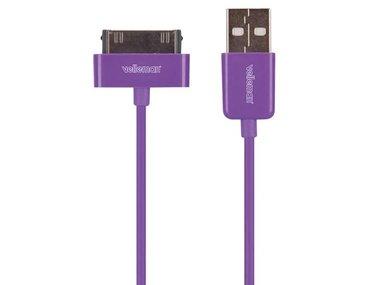 KABEL USB A MANNELIJK naar APPLE® 30-PINS MANNELIJK - PAARS - 1 m (PCMP66P)